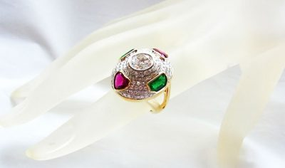 Emerald (0.97 ct) Garnet (1.32 ct)  and Diamond (2.82 ct) Ring