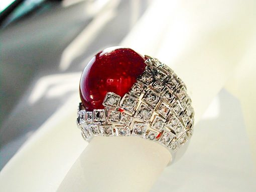 18K Ruby (35.56 cts)  <br> Diamond (1.94 cts) Ring